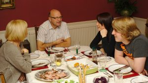 A family having dinner